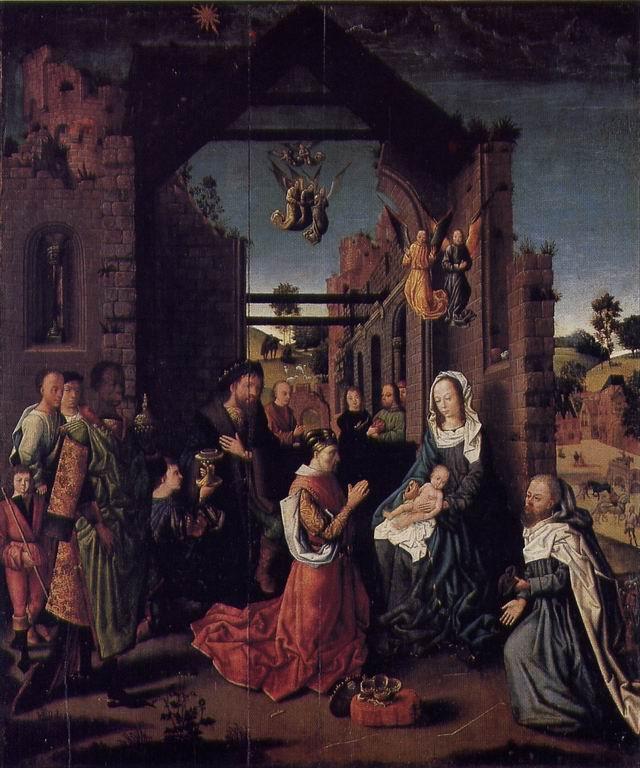 Pittore dei Paesi Bassi, Adorazione dei Magi, fine XV secolo, olio su tavola - Museo Baroffio Sacro Monte