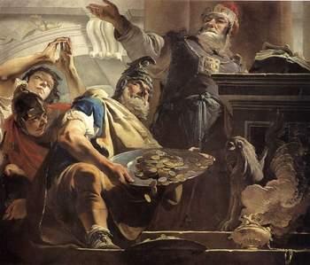 Giambattista Tiepolo, Eliodoro saccheggia il tempio (Il sacrificio di Eliodoro), 1726 ca