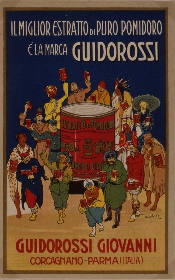 Carlo Bisi (1890-1982), Locandina per l'estratto di pomodoro della ditta Giovanni Guidorossi di Corcagnano (PR) del 1925 ca. - Foto