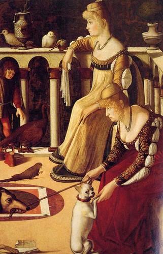 Vittore Carpaccio (1465 ca. - 1526): Due dame Veneziane (1495 ca.) Tempera e olio su tavola, cm. 94 x 64 - Museo Correr, Sala 38