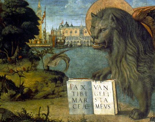Vittore Carpaccio (1460/65 ca. - 1525/26): Leone marciano andante (1516), particolare; Olio su tela - Venezia, Palazzo Ducale, Sala Grimani