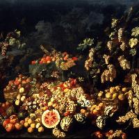 Abraham Brueghel-G. Ruoppolo, Natura morta con frutta e fiori, Museo di Capodimonte, Napoli (1670 ca.)