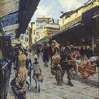 Telemaco Signorini Il Ponte Vecchio a Firenze 1878 ca. Olio su tela, 152x130 cm Collezione privata