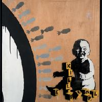 Banksy Kill People 2003 Stencil e spray su legno, 140,50x120 cm Collezione A. Chausée