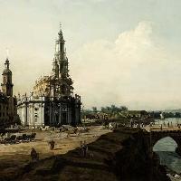 Dresda dalla riva sinistra dell'Elba, il Castello a sinistra, la chiesa cattolica Hofkirche di fronte