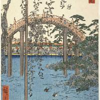 tagawa Hiroshige Kameido. L'area antistante il santuario Tenjin 1856