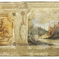 Guercino e collaboratori: Paesaggio con veduta di città, 1617